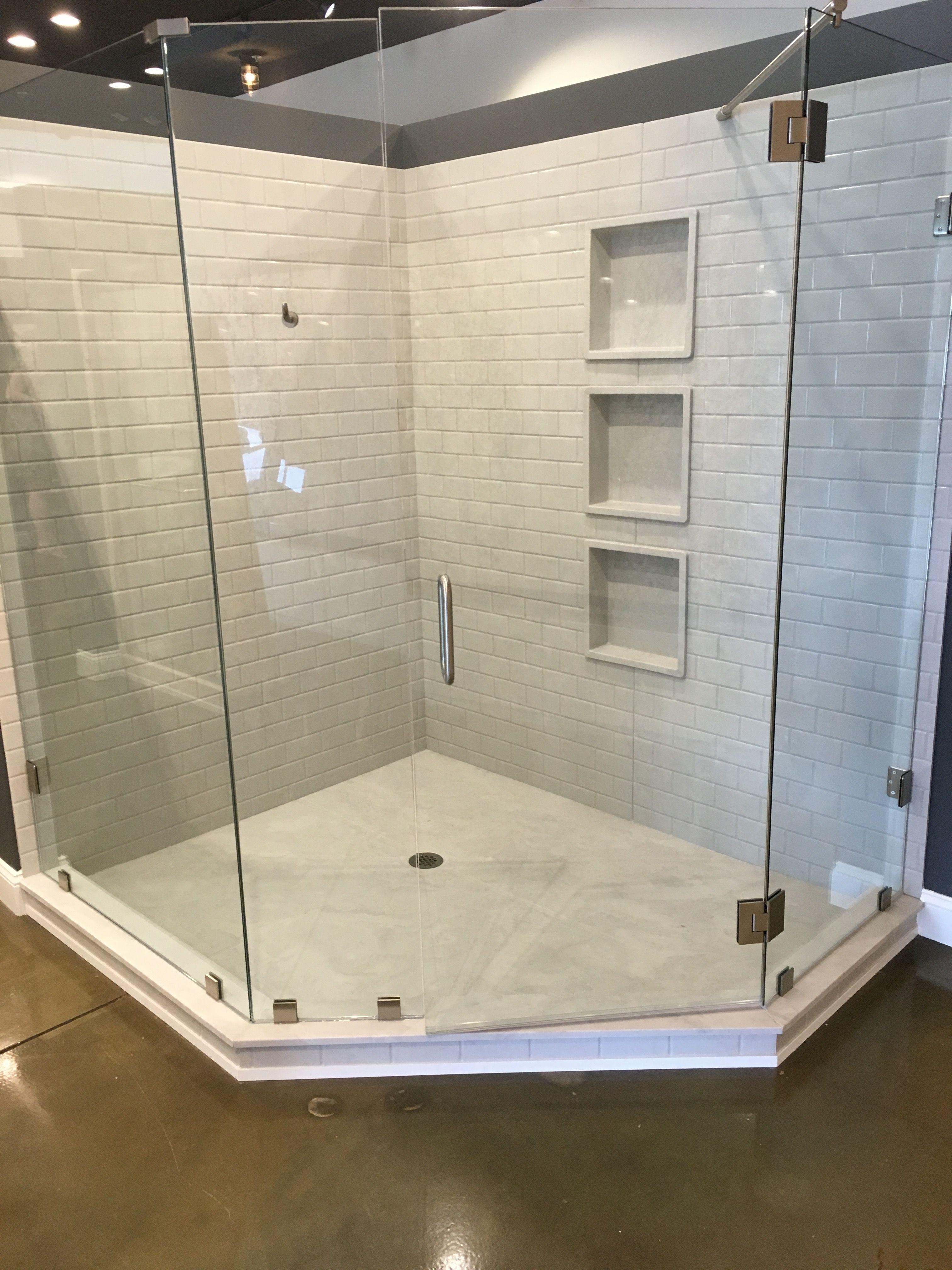 Subway Tile Cultured Marble Shower Walls Custom Shower Pan