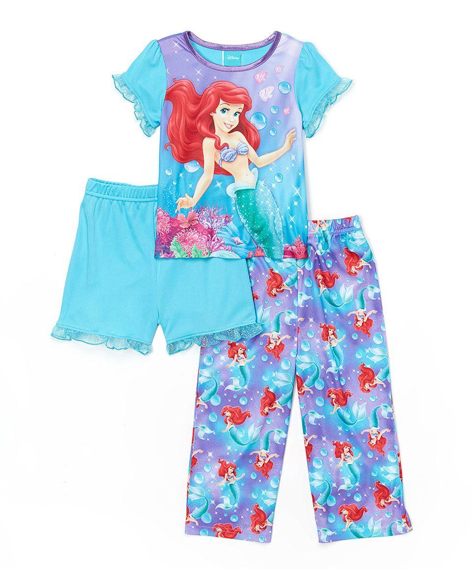 Disney Toddler Girls Princess Ariel Little Mermaid 4 Piece Pajama Set