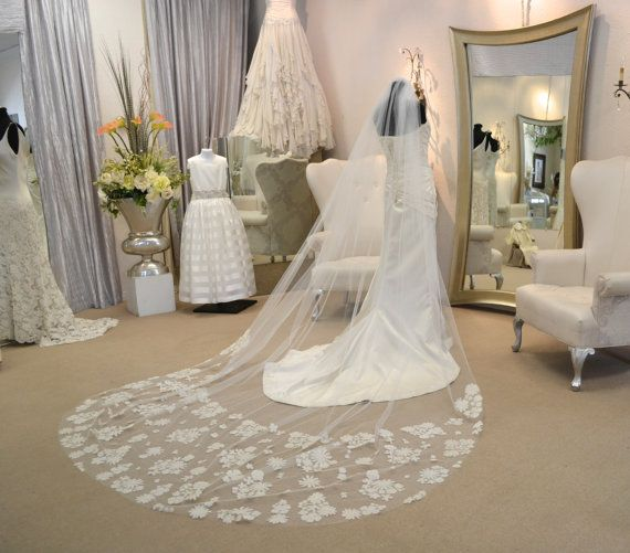 Long Cathedral Veil Cathedral Mantilla Veil by CouturesbyLaura, $549.00
