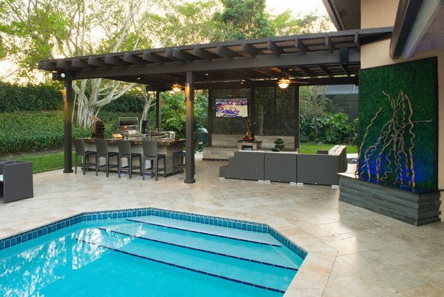 unique backyard designs with pool and outdoor kitchen with ...