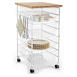 White Elfa Kitchen Cart Container For Baking Items