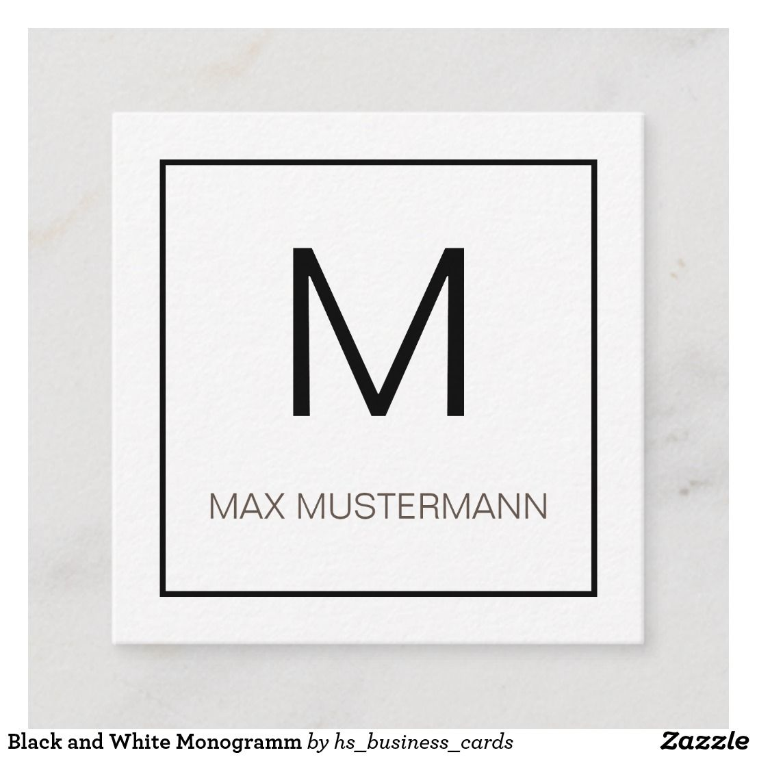 Black And White Monogramm Quadratische Visitenkarte Zazzle