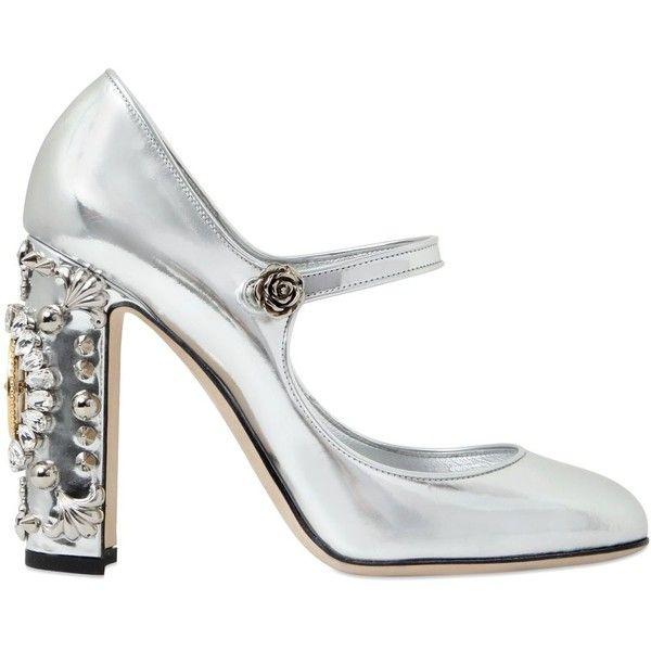 Dolce & Gabbana Women 105mm Clock Metallic Leather Pumps (7.200 RON) ❤  liked on