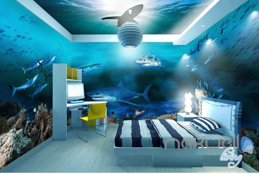 3d Sharks Shadow Underwater Entire Room Wallpaper Wall Murals Art Prints Idcqw 000142