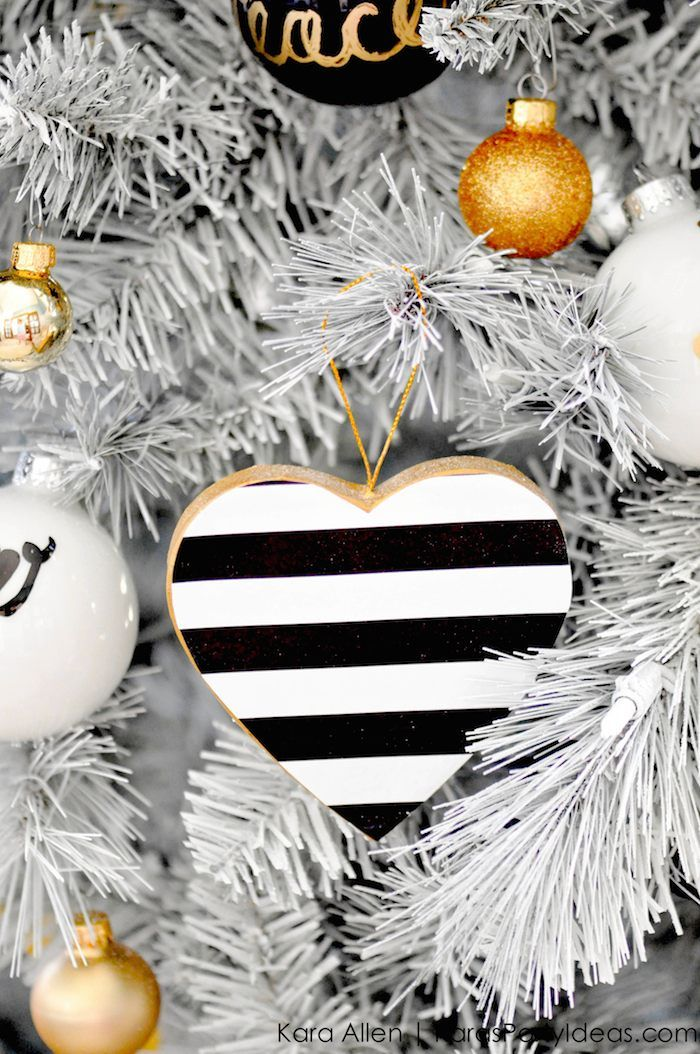 DIY Black, White + Gold Modern Christmas Tree Ornaments Stripes