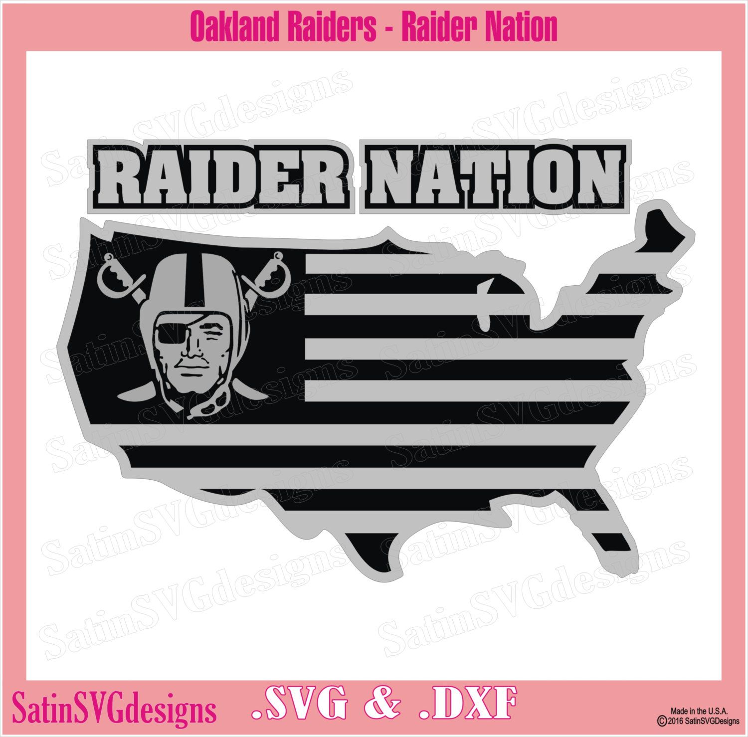 Oakland Raiders Nation Map Design With Your Silhouette