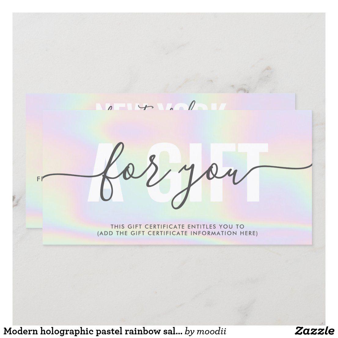 Modern Holographic Pastel Rainbow Salon Gift Card Zazzle Com Salon Gift Card Pastel Rainbow Gift Card