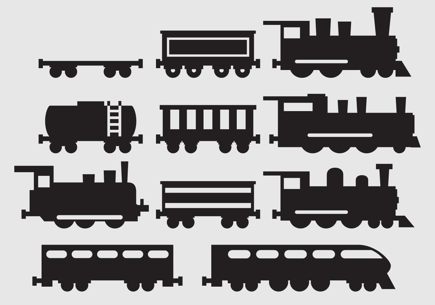 Train Silhouette Vectors Trein Patronen Silhouet