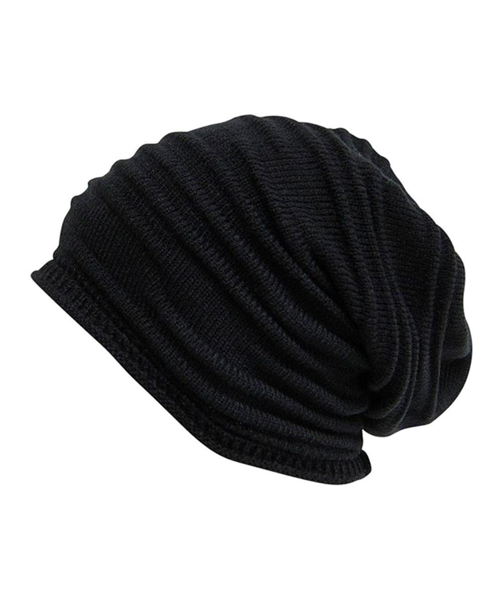 Black Pleated Slouchy Beanie  45ac0b953f8f