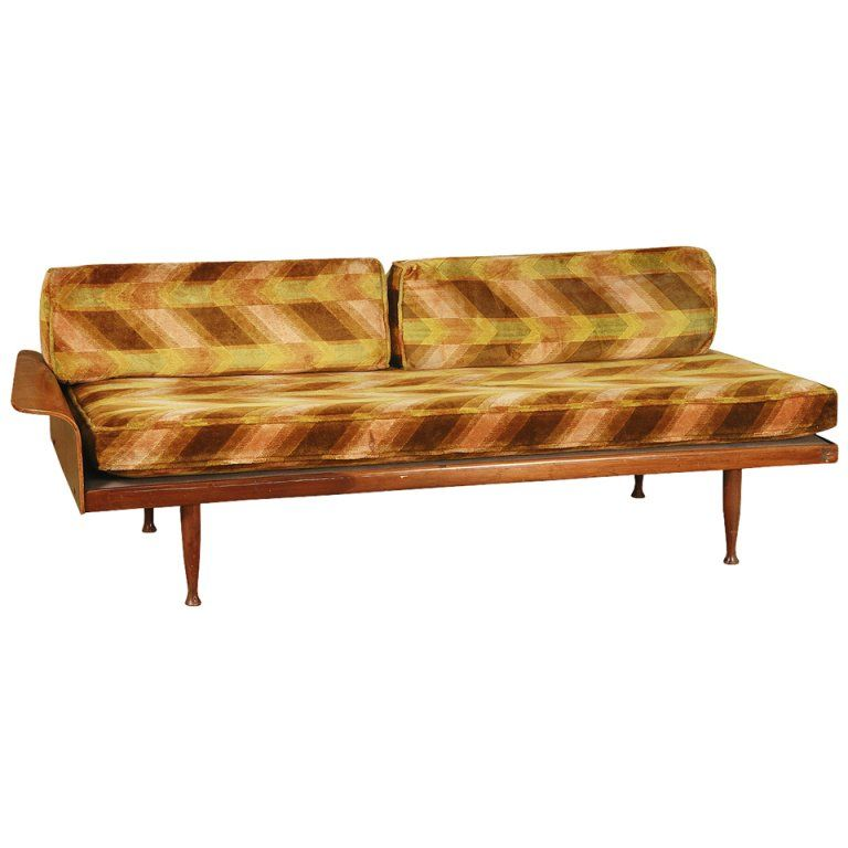 Walnut Daybed With Fan Arm By Frank And Son With Images Modern Style Furniture Art Deco Sofa Modern Upholstery