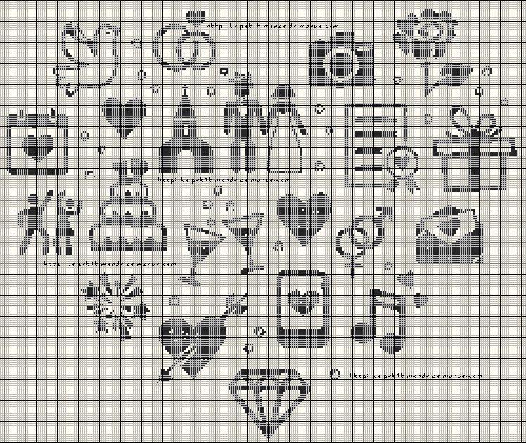 Grilles gratuites : Le coeur mariage - Le Petit Monde de Manue | Point de croix mariage, Grille ...