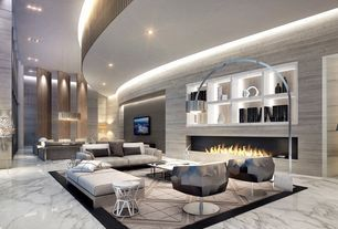 Modern Living Room with Carpet, complex marble tile floors, Bianco Carrara, Marble., Arco Floor Lamp - Arch Arc Lamp