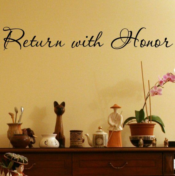 Return With Honor vinyl lettering wall saying home decor sticker ...