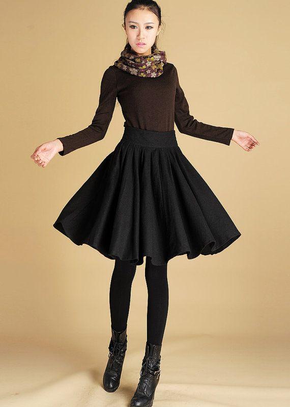 low priced e7fc6 7817e Wool pleated skirt, womens clothing, black skirt, midi skirt ...