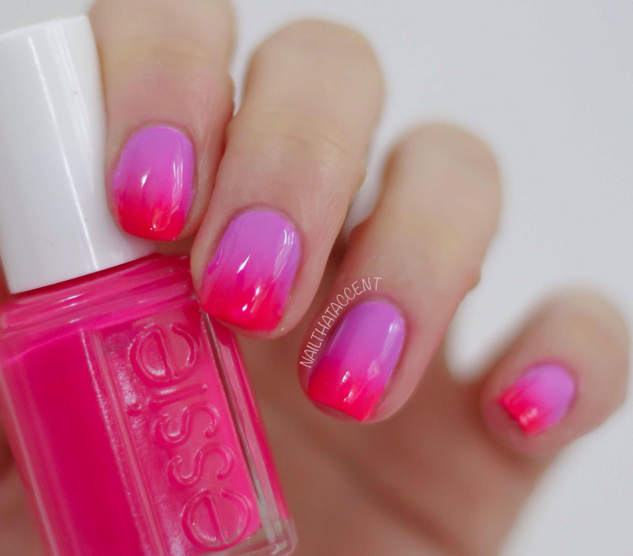 Bright ombré nails with Essie Bermuda shorts and dj play that song ...