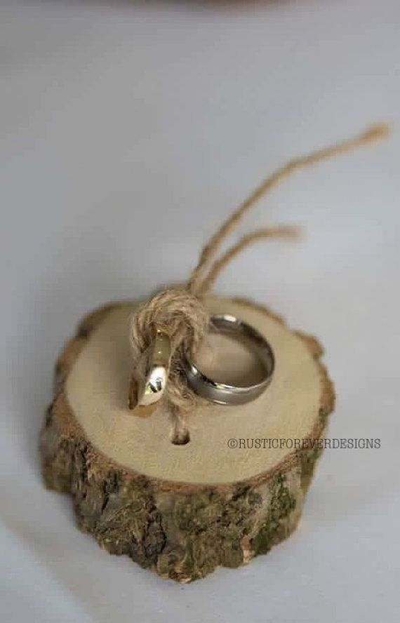 feb2d7abab Rustic shabby chic ring bearer pillow, wedding wood slice, rustic ring box,