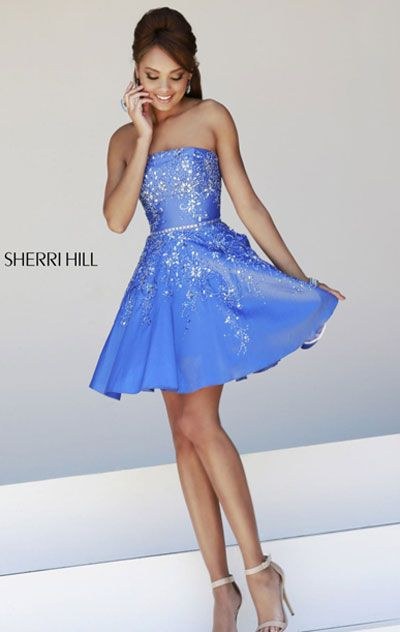 2015 Periwinkle Bodice Strapless Beaded Short Prom Dress [Sherri Hill 21362  Periwinkle] - $172.00