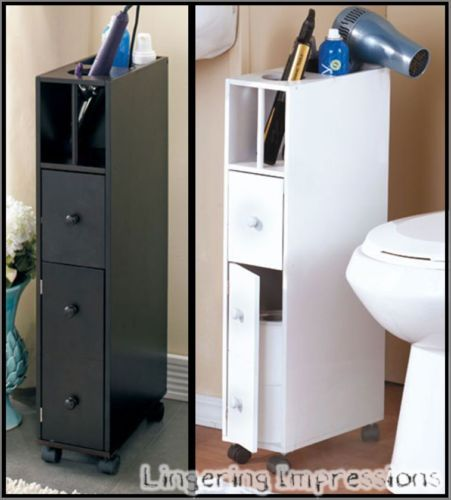 Slim Space Saving Rolling Bathroom Storage Organizer Cabinet W