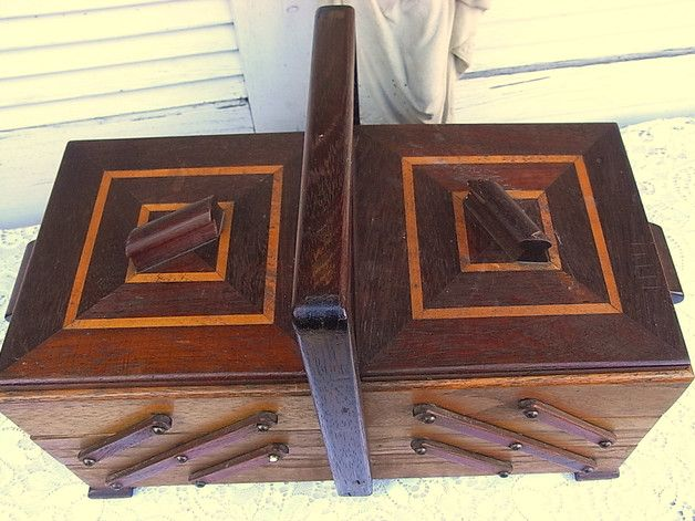 Vintage Nähkästchen - shabby chic Nähkästchen Holz & Intarsien - ein…