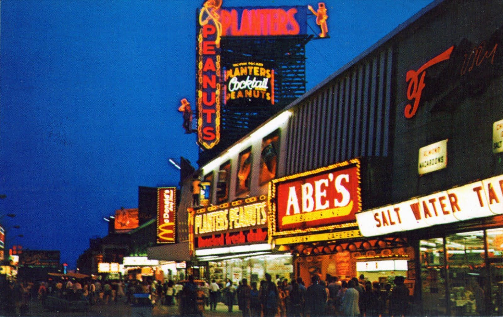 Unusual View Of The Atlantic City Boardwalk At Night Notice Abe S Which Served All You Could Eat Breakfast I Atlantic City Boardwalk Atlantic City Boardwalk