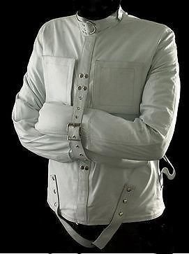 Real leather (white) heavy duty straightjacket straight strait ...