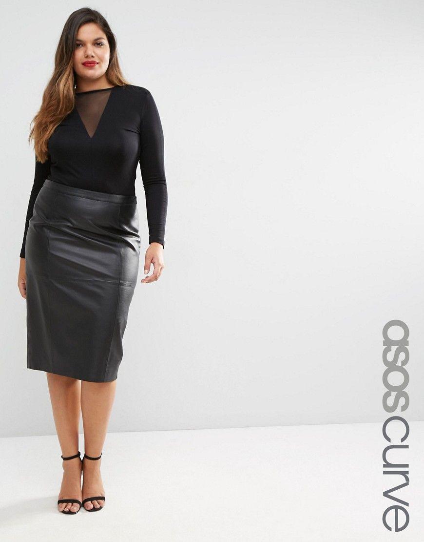 55ecef765 ASOS CURVE Premium Pencil Skirt in Leather Plus Size Chic