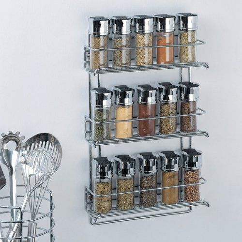 Organize It All 3 Tier Wall Mounted Spice Rack Chrome 1812 12 98 Save 8 02 Free Shipping Wall Mounted Spice Rack Spice Rack Spice Storage