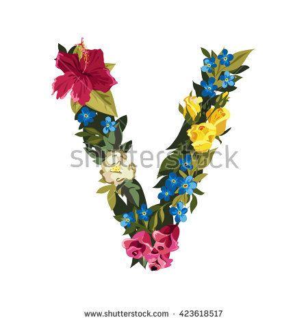 V letter flower capital alphabet colorful font uppercase vector flower v letter thecheapjerseys Gallery