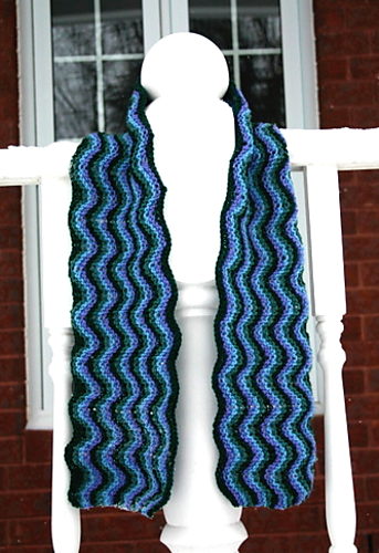 Free knitting pattern: stripy wavy scarf | Scarf knitting ...