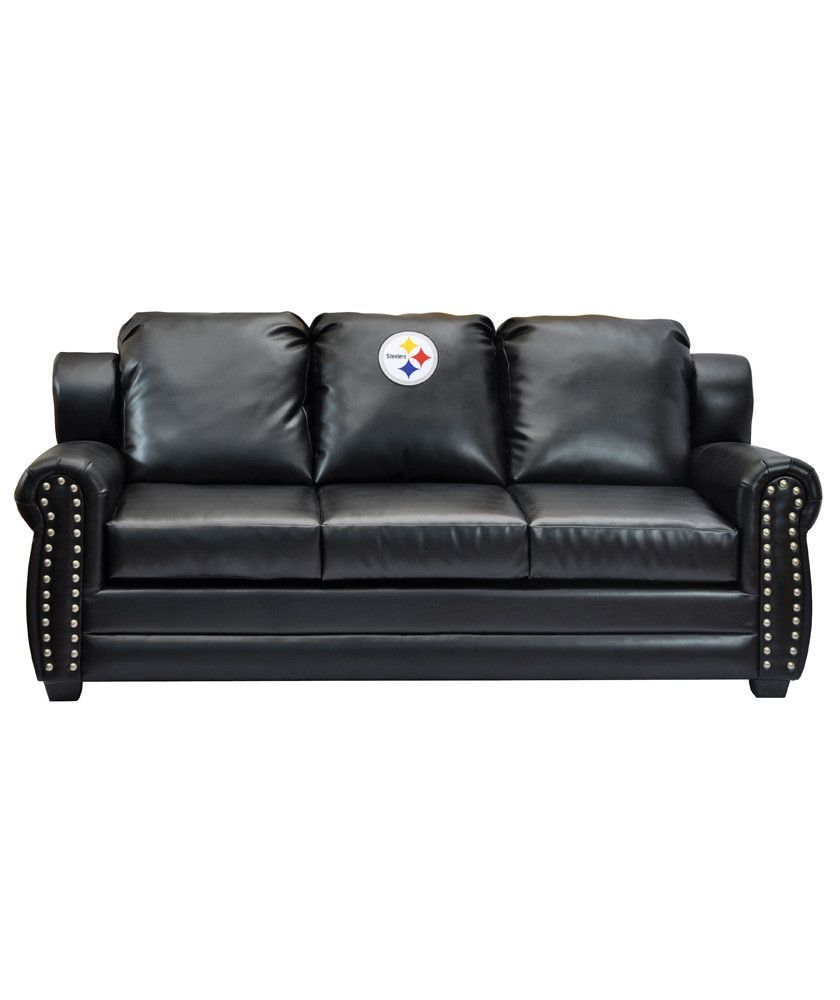 Pittsburgh Steelers 3 Cushion Black Leather Sofa w/ Nailhead ...
