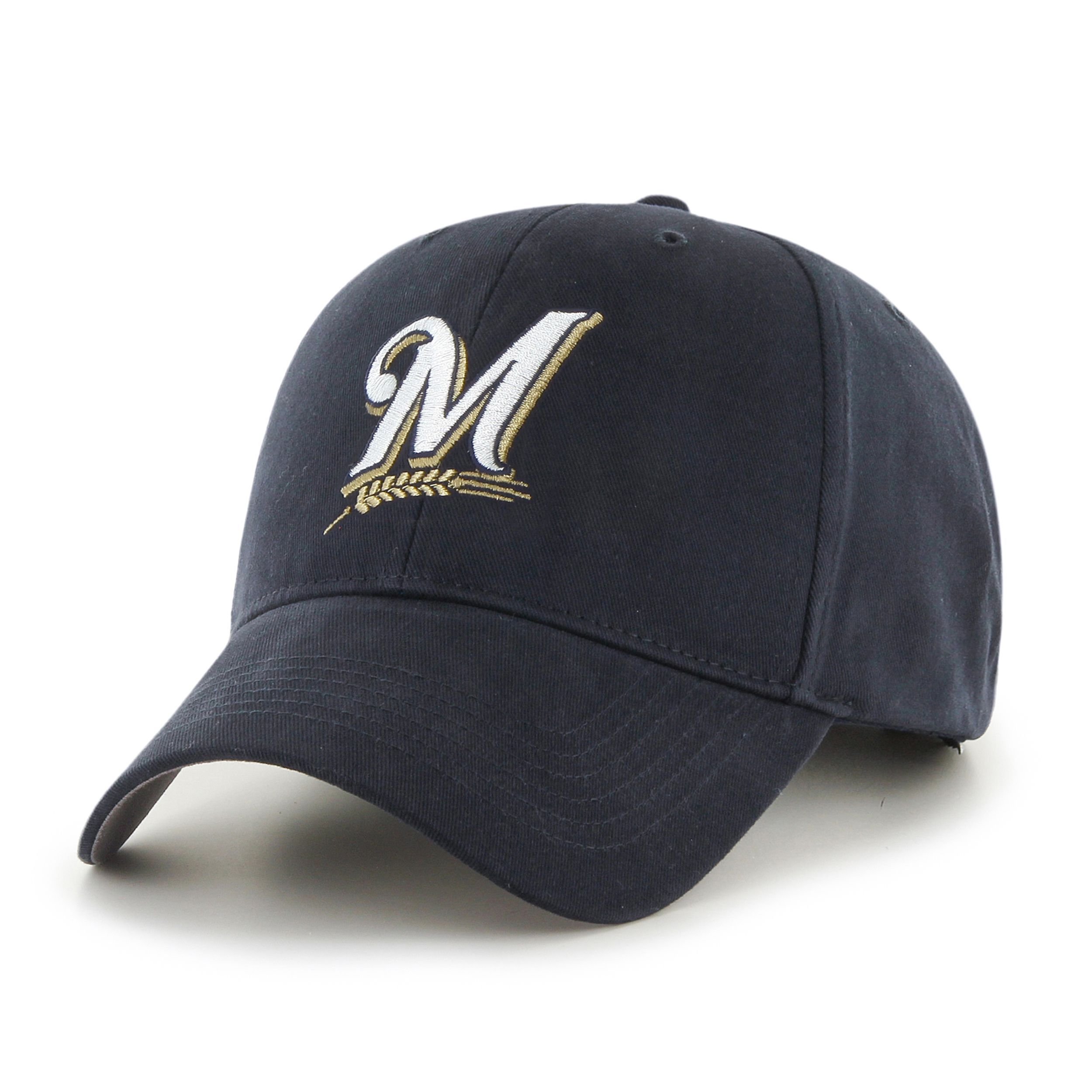 reputable site 9380e 010c0 47 Brand Milwaukee Brewers MLB Basic Hook and Loop Hat (Milwaukee Brewers),  Size One Size Fits All (cotton)