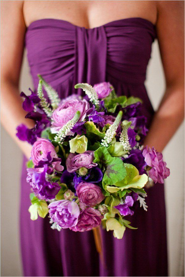 Green And Purple Color Palette Wedding Flowers Bridesmaid Dress