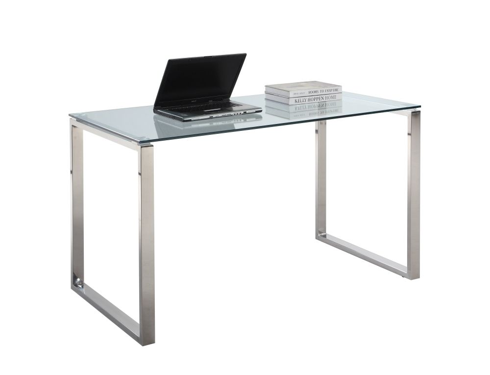 Chintaly Imports Glass Top Computer Desk 295 24 Home Office Computer Desk Large Computer Desk Large Desk