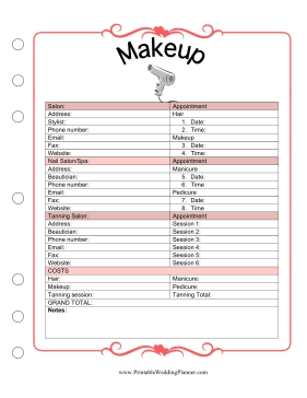 The Wedding Planner Makeup Template Covers Appointment Times And