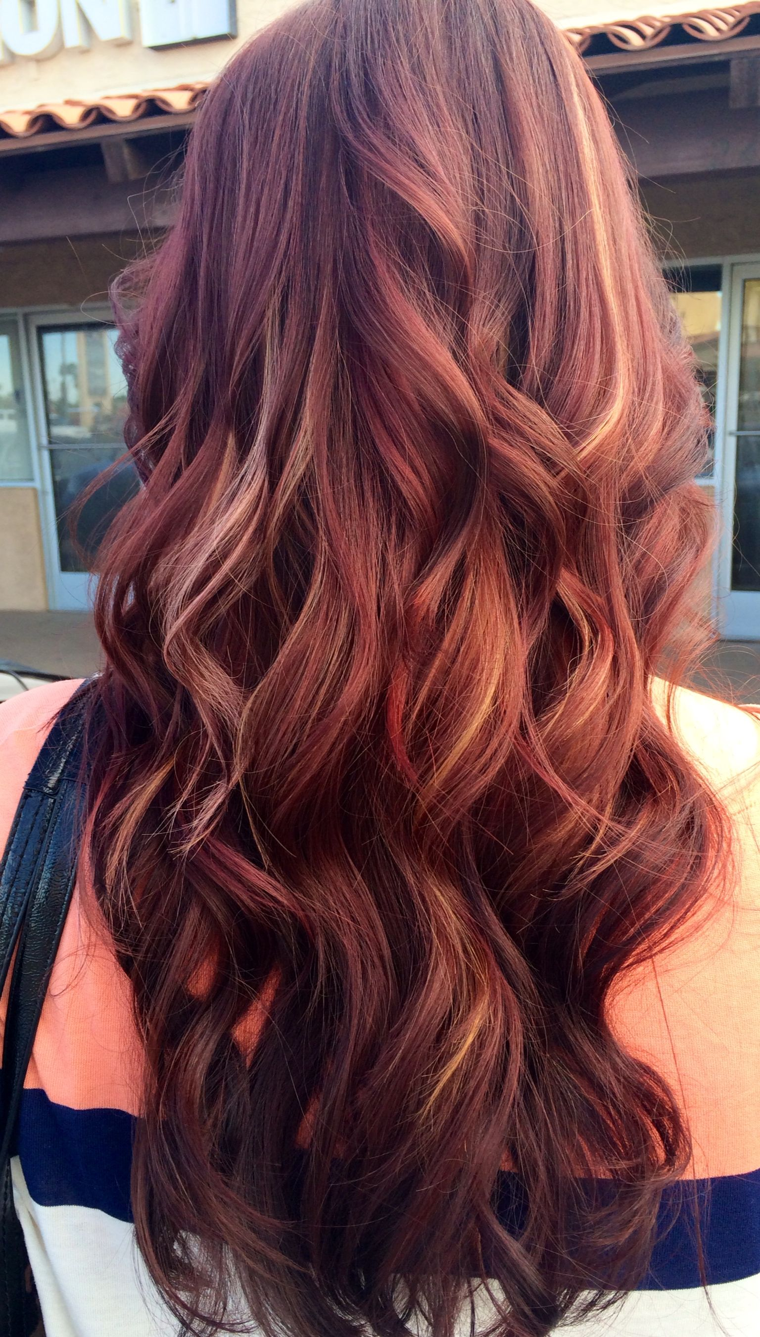 Red With Blond Peekaboo Highlights Mahogany Hair Hair