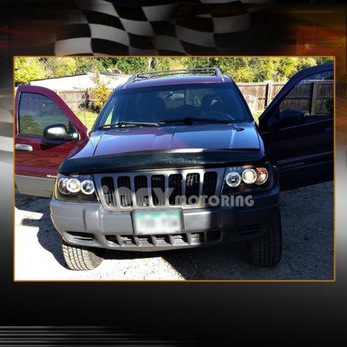 1999 2004 Jeep Grand Cherokee BRIGHTEST Dual Halo Projector LED Headlights  Black