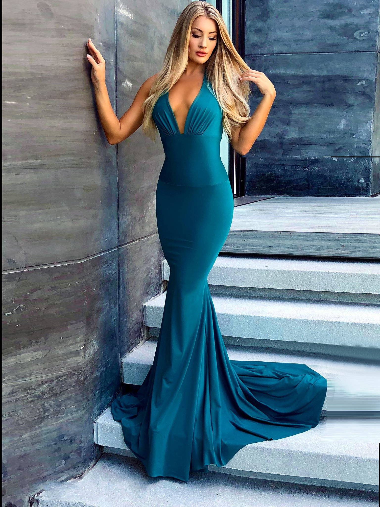 Halter neck with straps prom dress mermaid simple cheap long prom