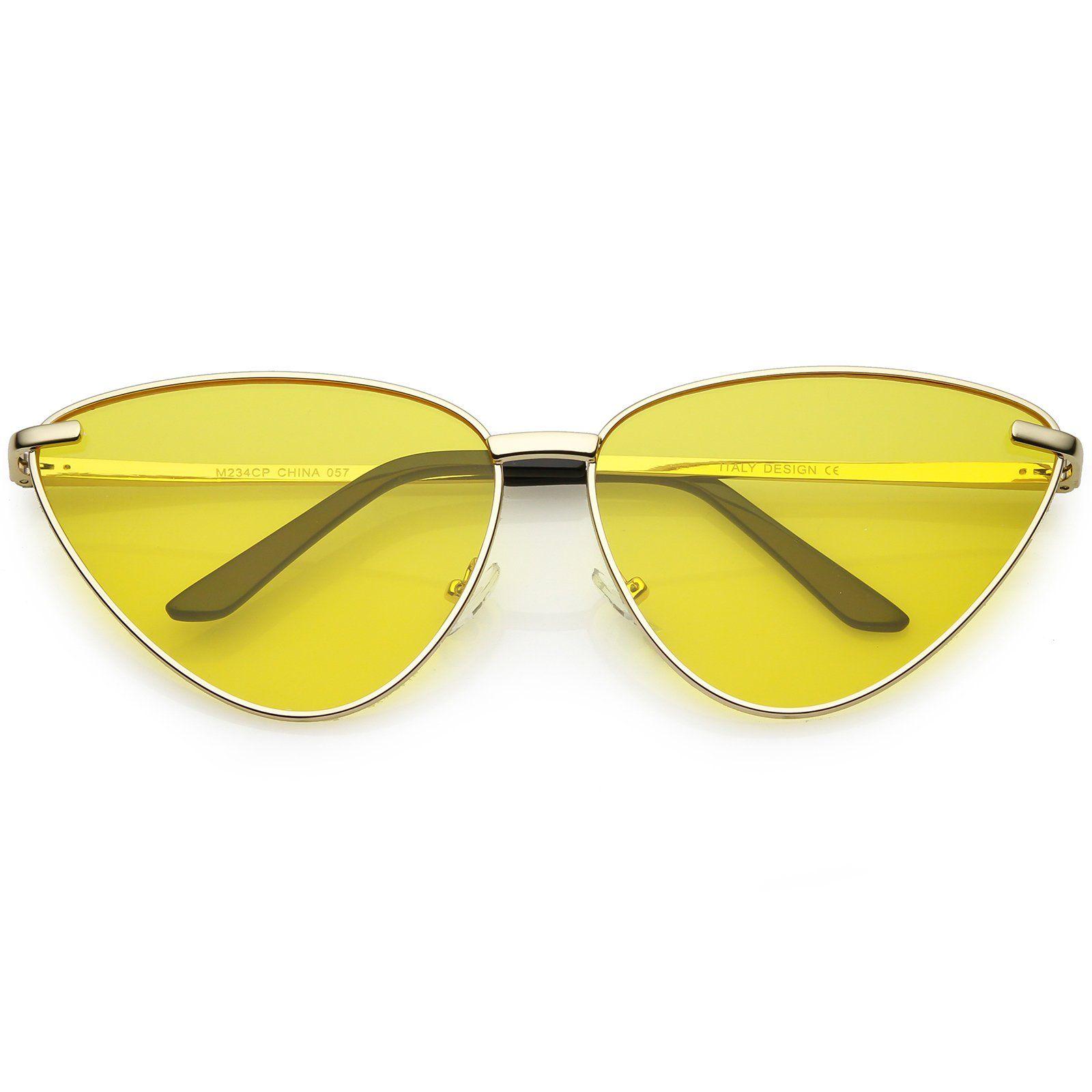 4b1db3a0548 Oversize Cat Eye Sunglasses Thin Metal Frame Color Tinted Flat Lens 64mm   sunglasses  frame  sunglass  cateye  oversized  clear  sunglassla  bold   mirrored ...