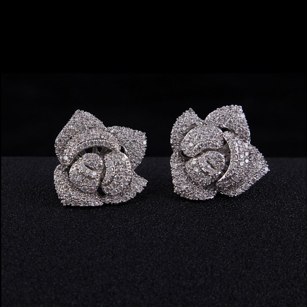 Rose CZ micro pave earrings, AAA Cubic Zirconia, Studs, Wedding Jewellery, Bridal, Bridesmaids, Anniversary, Banquet