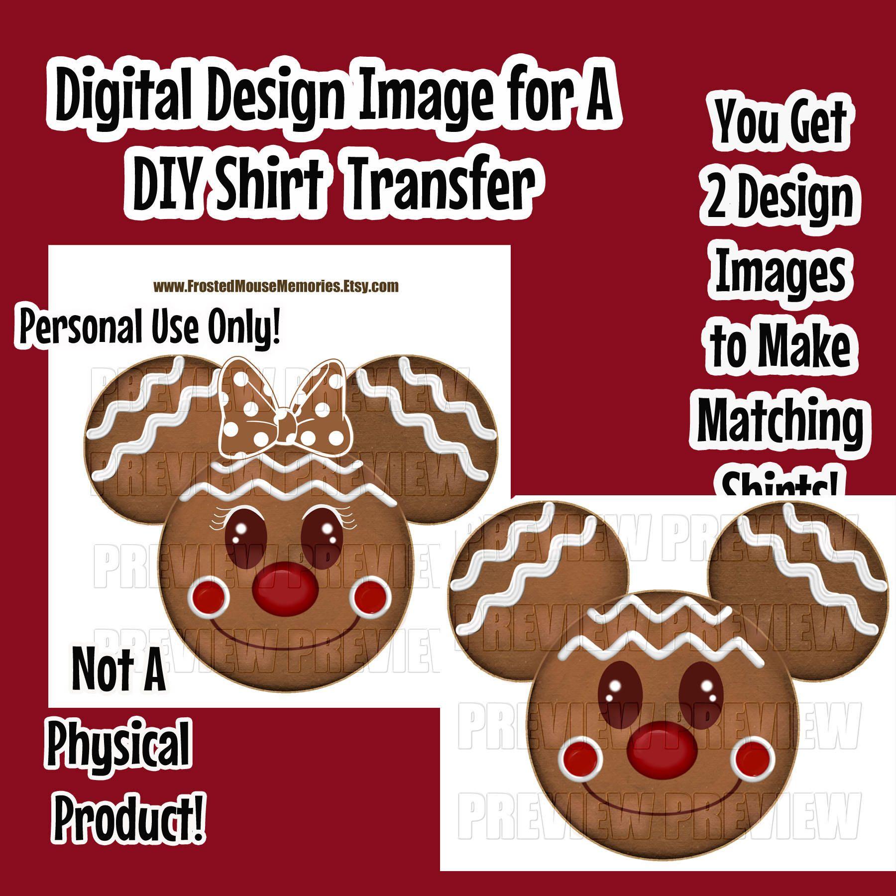 Digital Printable Gingerbread Mouse Head Shirt Transfer