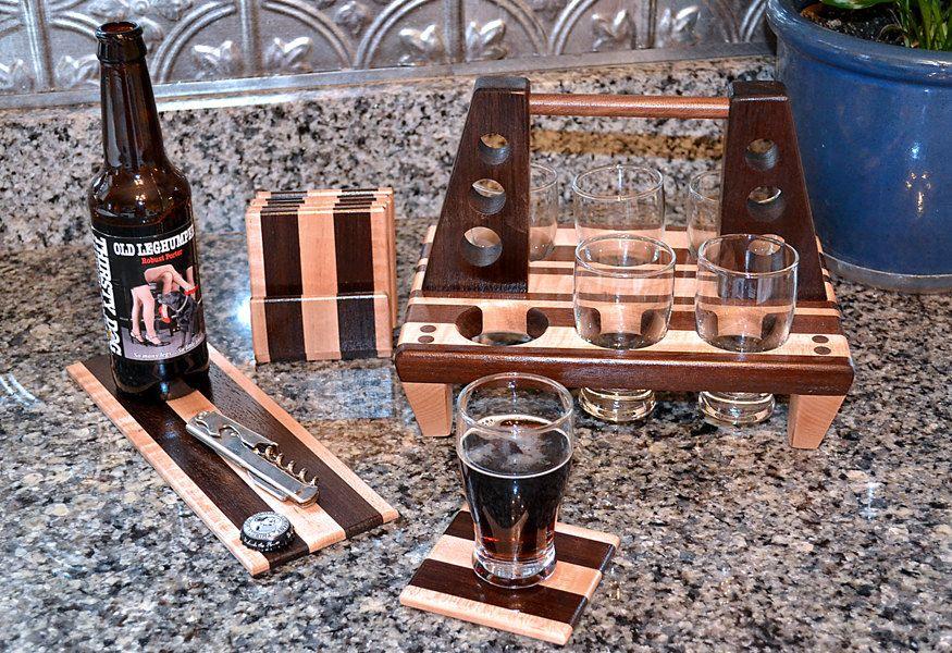 Handmade wood mini brew six 6 pack coaster set and by