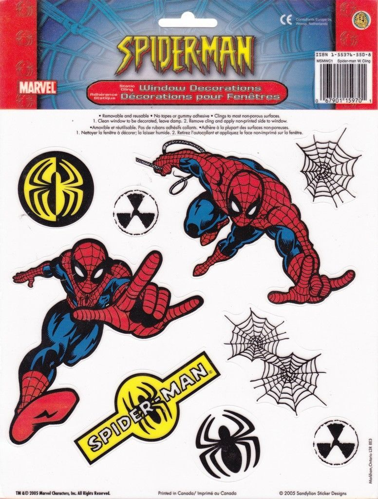 9 SPIDER-MAN WINDOW CLINGS ~ Birthday Party Supplies Marvel Sticker Removeable