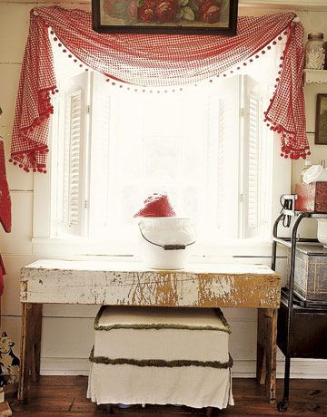 Shabby Rustic Kitchen Uses A Swag Of Red And White Gingham Over White  Hinged Colonial Shutters.
