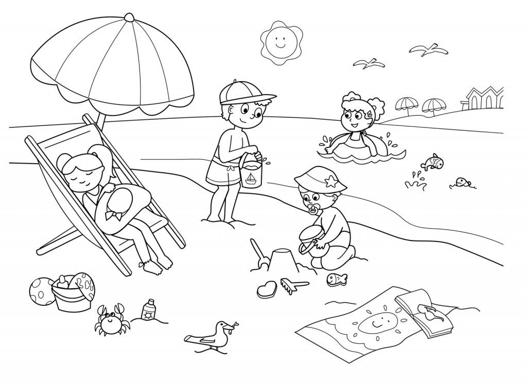 Children On The Beach Coloring Page Beach Coloring Pages Summer Coloring Pages Coloring Pages