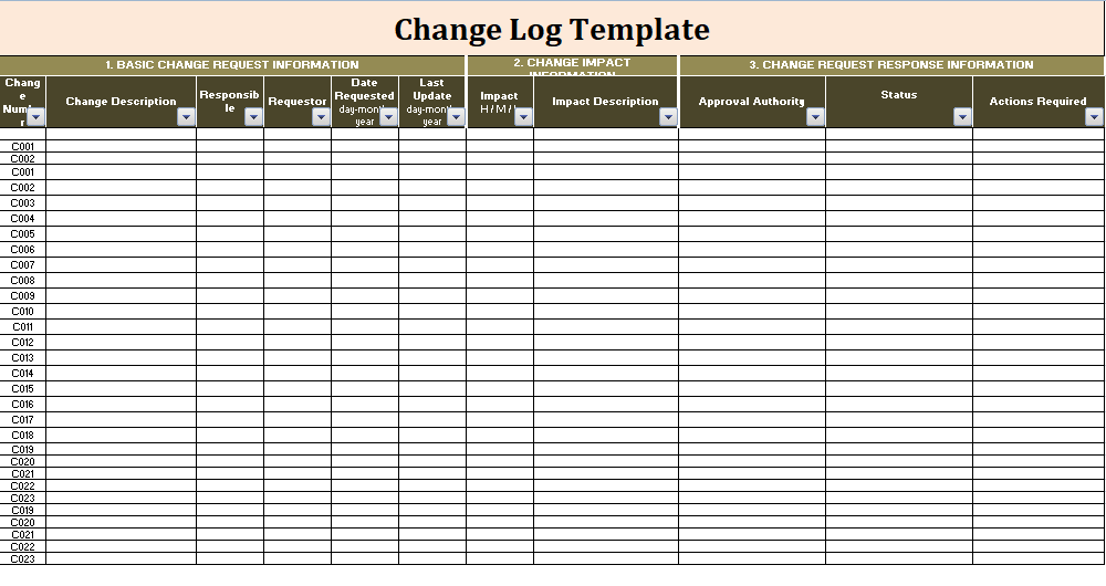 a change log template is a type of log that record the changes or a record