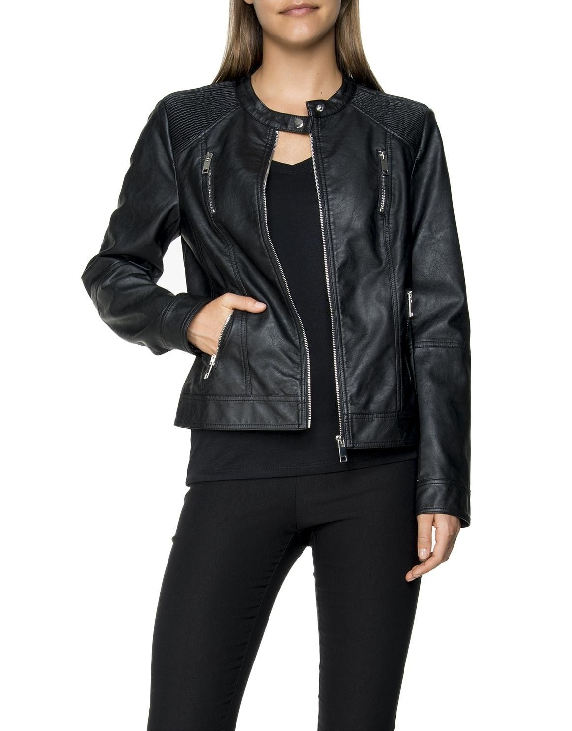 Leather Look Bomber Jacket (With images) Clothes, Bomber