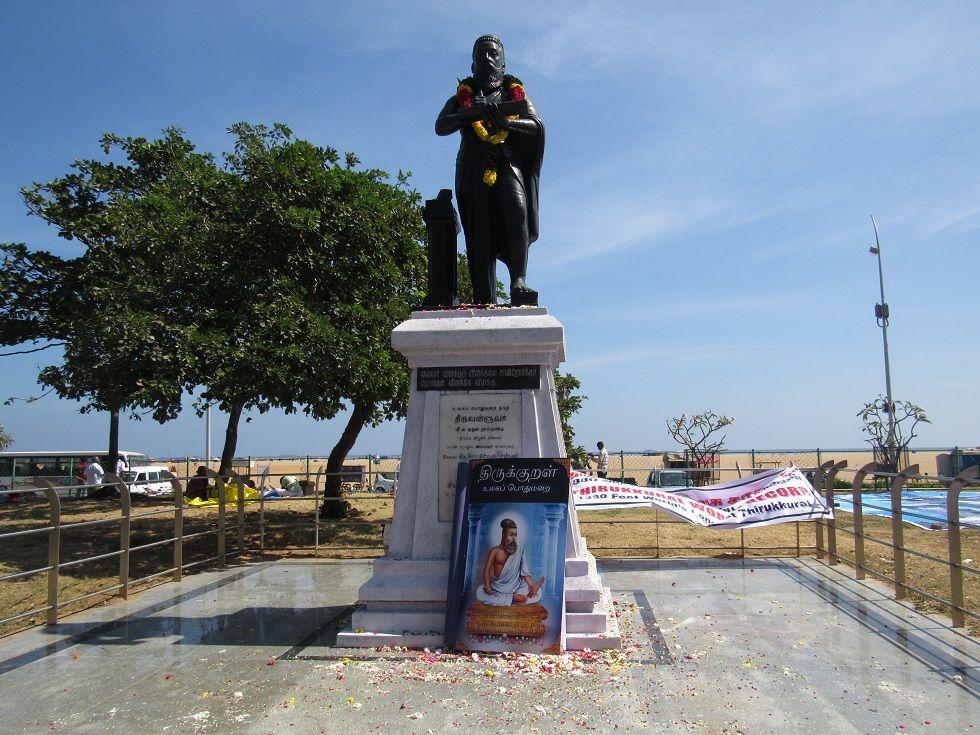 1330-feet Thiruvalluvar state at Marina beach, Chennai