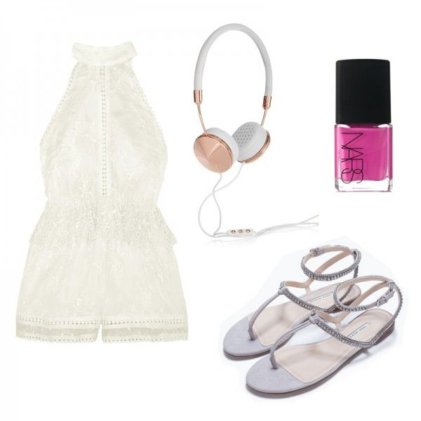 Flat Sandal with Diamante, Zara $80 Admire Cherry Embroidered Silk Playsuit, Zimmermann $530 Layla Leather and Rose Gold-Tone Headphones, Frends $150 Nail Polish in Shiap, NARS $20