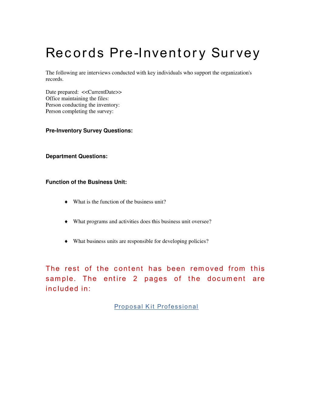 How to write your own Records Management Pre-Inventory