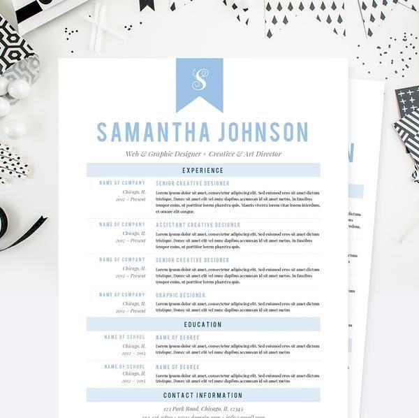 Baby Blue Web Designer CV Resume, Cover Letter U0026 References Template Package